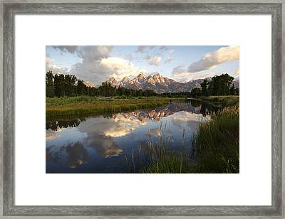 Sunrise Reflection At Schwabacher Landing  Framed Print by Paul Cannon