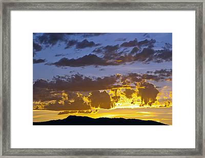 Sunset Over Horsetooth Rock Framed Print by Harry Strharsky