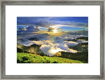 Sunset With Clouds Framed Print by Photo by Vincent Ting