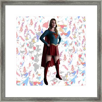 Supergirl Splash Super Hero Series Framed Print