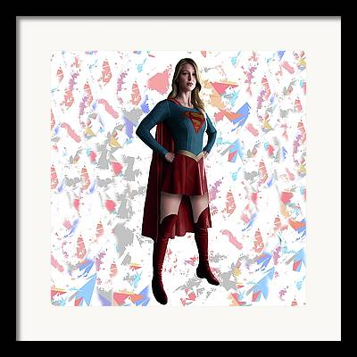 Supergirl Mixed Media Framed Prints