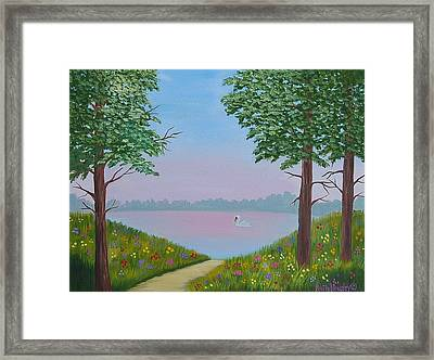 Swan On The Lake Sold Framed Print by Ruth  Housley