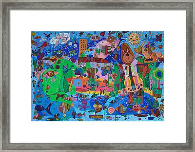 The Dog Out Walking The Fish Framed Print by Seema  Gill