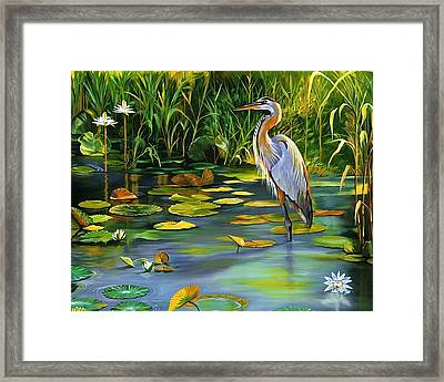 The Heron Framed Print by Beth Smith