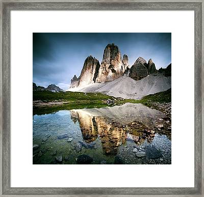 Three Peaks Reflection In Lake Framed Print by Matteo Colombo