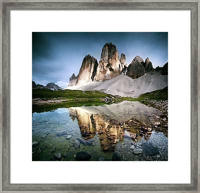Three Peaks Reflection In Lake Framed Print