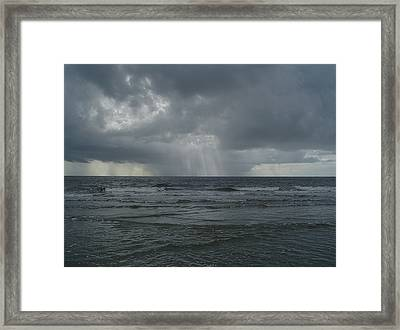 Thunderstorm Over The Ocean Framed Print by Richard Marcus