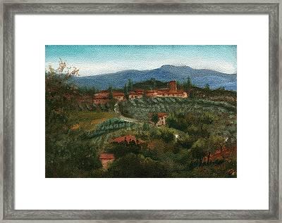 Tuscan Farm Framed Print by Leah Wiedemer
