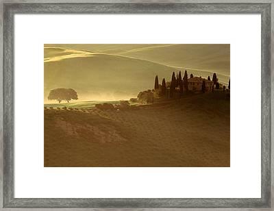 Tuscan Farmouse In Morning Mist Framed Print