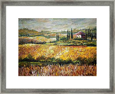 Framed Print featuring the painting Tuscan Wheat by Lou Ann Bagnall