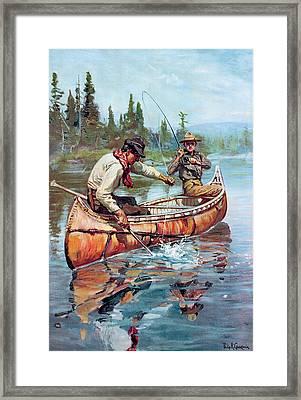 Two Fishermen In Canoe Framed Print
