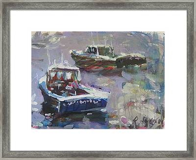 Framed Print featuring the painting Two Lobster Boats by Robert Joyner