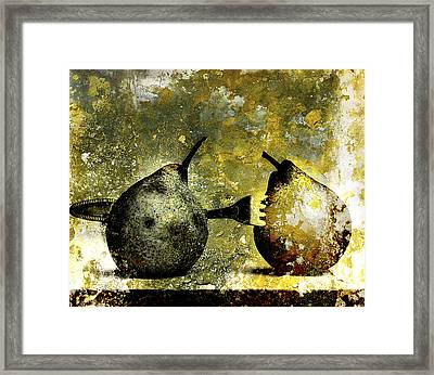 Two Pears Pierced By A Fork. Framed Print by Bernard Jaubert
