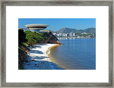 Ufo On The Cliff Framed Print by George Oze