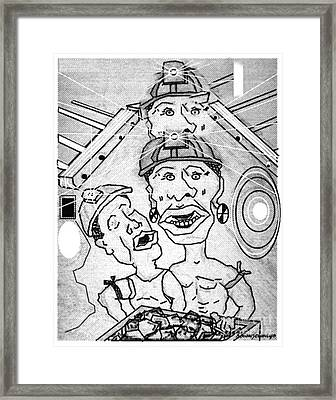 Underground Mine Workers In South Africa Framed Print