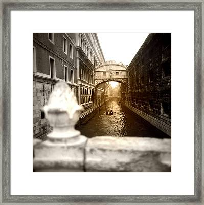 Venice Canal With Sunlight Framed Print by Emanuel Tanjala