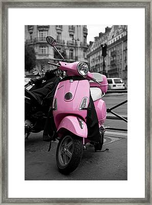 Vespa In Pink Framed Print