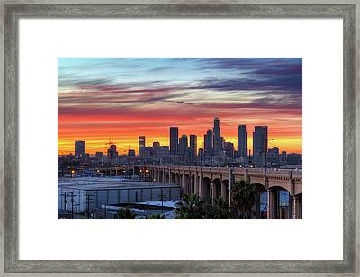 View Of Bridge At Dusk Framed Print