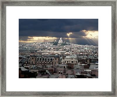 Vue De La Butte Montmartre.roofs Of Paris Framed Print by Bernard Jaubert
