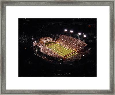 Wake Forest Aerial View Of Bb And T Field Framed Print by John Grogan
