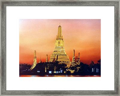 Framed Print featuring the painting Wat  Aroon by Chonkhet Phanwichien