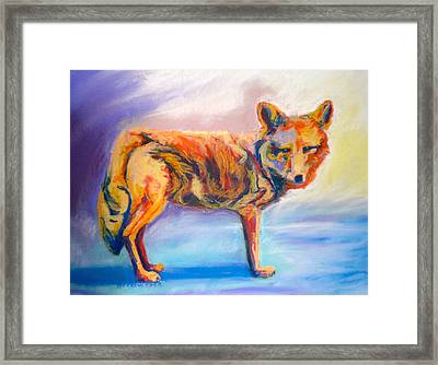 Framed Print featuring the pastel Watching Coyote by Pat Crowther