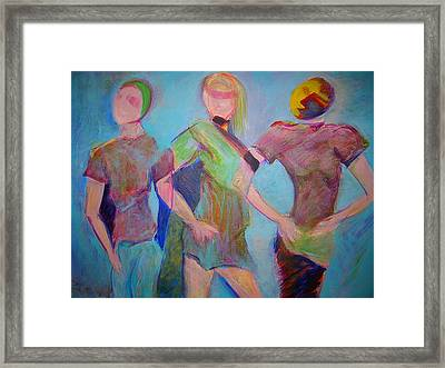 Framed Print featuring the painting We Three by Mary Schiros