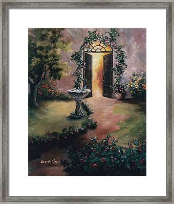 Framed Print featuring the painting Welcoming Light by Brenda Thour