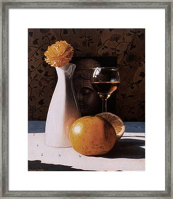 White Vase And Grapefruits Framed Print by Daniel Montoya