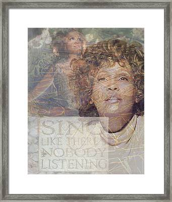 Whitney Houston Sing Framed Print by Cindy Wright