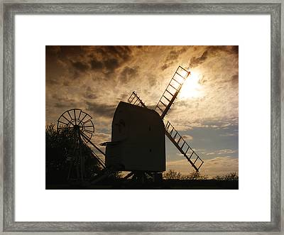 Windmill At Dusk  Framed Print by Pixel Chimp