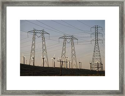 Windmills At A Electricity Producing Framed Print by Paul Chesley