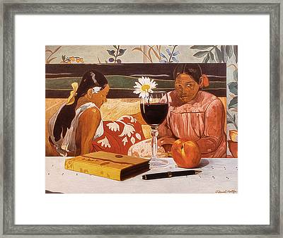 Wine Glass And Gauguin Framed Print by Daniel Montoya