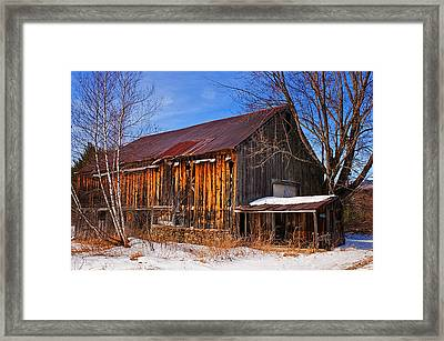 Winter Barn - Chatham New Hampshire Framed Print by Thomas Schoeller