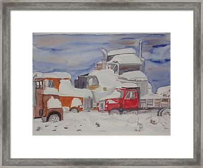 Winter Truck Yard Framed Print by Tim Bhajjan