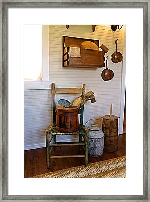 Wooden Wares And Farm Life Framed Print by Carmen Del Valle