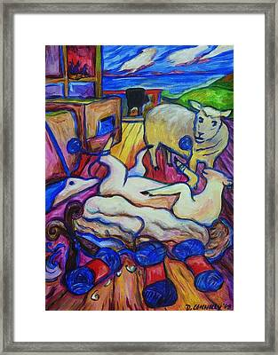 Framed Print featuring the painting Wooly Yarn On The Sheep by Dianne  Connolly