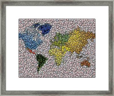 World Map Bottle Cap Mosaic Framed Print by Paul Van Scott