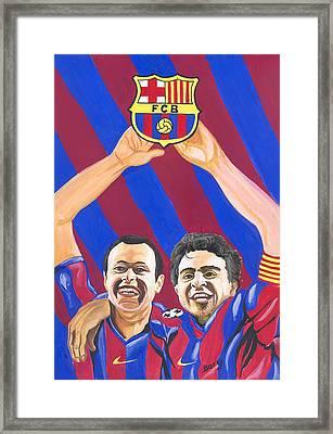 Framed Print featuring the painting Xavi And Iniesta by Emmanuel Baliyanga