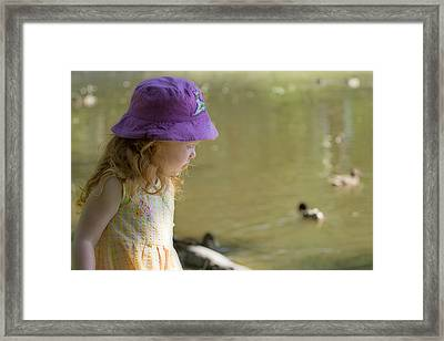 Young Girl Bird Watching Framed Print