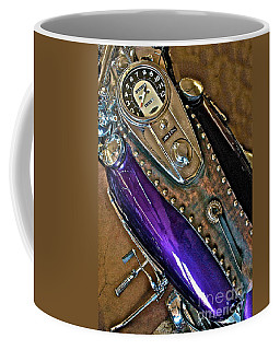 1953 Purple Harley Panhead Coffee Mug by Linda Bianic