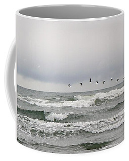 Pelicans On Parade Coffee Mug by Pamela Patch