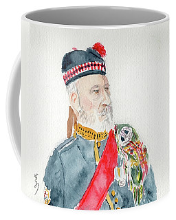 Coffee Mug featuring the painting A Scottish Soldier by Yoshiko Mishina