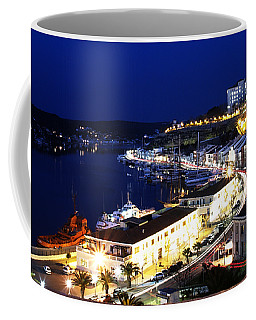 Coffee Mug featuring the photograph Mahon Harbour At Night by Pedro Cardona
