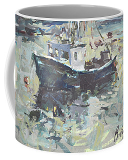 Coffee Mug featuring the painting Original Lobster Boat Painting by Robert Joyner