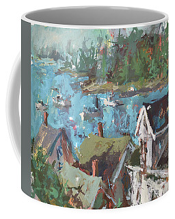 Original Modern Abstract Maine Landscape Painting Coffee Mug