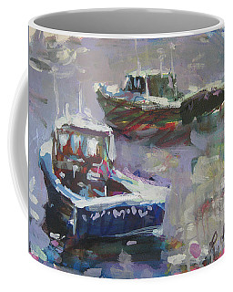 Coffee Mug featuring the painting Two Lobster Boats by Robert Joyner