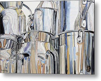 Reflection In Pitcher Metal Prints