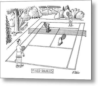Tennis Drawings Metal Prints