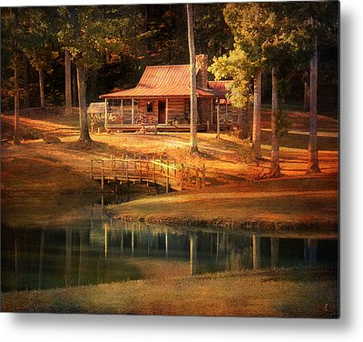 Log Cabins Metal Prints